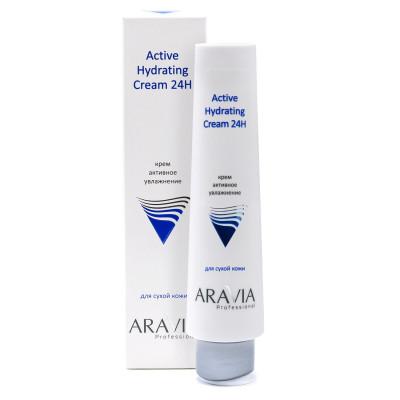 Крем для лица активное увлажнение ARAVIA Professional Active Hydrating Cream 24H 100мл: фото