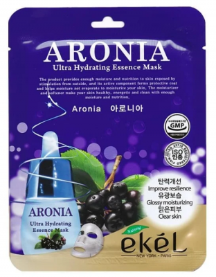 Тканевая маска для лица с экстрактом аронии EKEL Aronia Ultra Hydrating Essence Mask 25г: фото